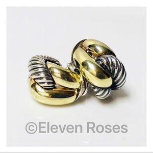 David Yurman Sterling 14k Sculpted Cable Earrings
